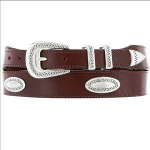 COPY BRIGHTON Brown Leather Ornamental Taper Belt